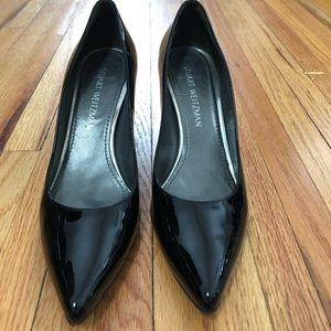 Black patent Stuart Weitzman Block Heel Pump 9
